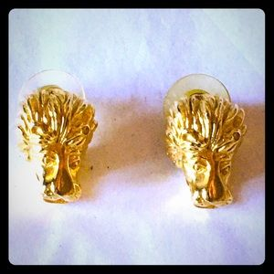 Kenneth Jay Lane signed lion earrings